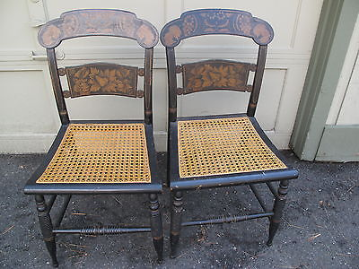 Circa 1830's pair Hitchcock decorated chairs