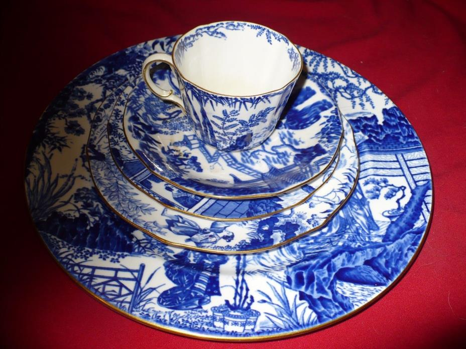 blue mikado china 5PC PLACE SETTING around 100 years old