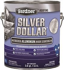 GARDNER SILVER DOLLAR FIBERED ALUMINUM ROOF COATING, 1 GALLON