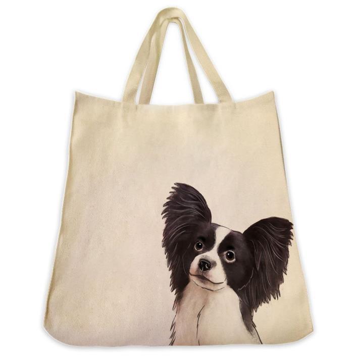 Black and White Papillon Dog Portrait Color Design Extra Large Reusable Cotton T