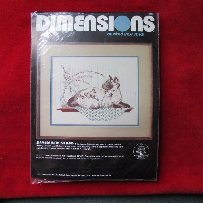 Dimensions Siamese With Kittens Cat Counted Cross Stitch #3580 Open
