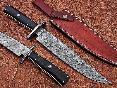Damascus Custom Handmade  Bowie Knife Fire Pattern14 Inches