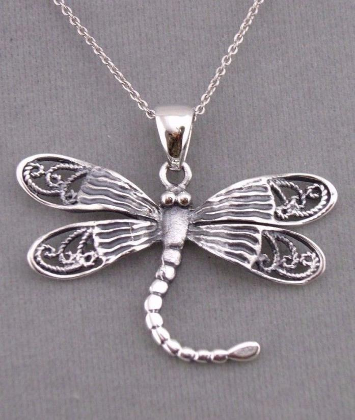 925 Sterling Silver Dragonfly Necklace Filigree Wings Jewelry NEW Pendant