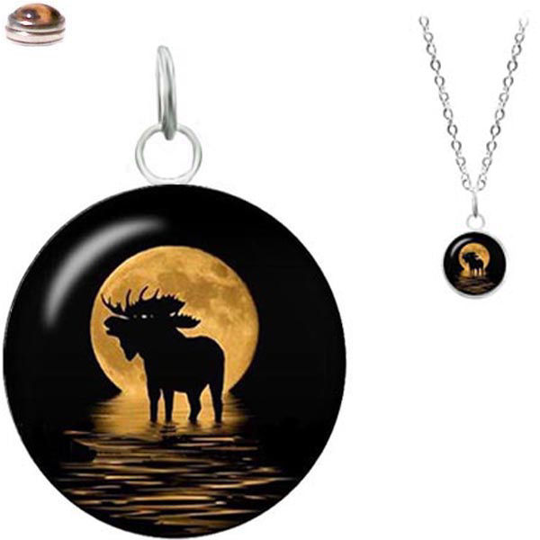 MERZIEs 18mm SNAP glass U PICK necklace MOOSE Button &/or box - SHIPs from USA