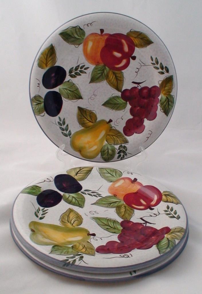3 Oneida Vintage Fruit Hand Painted Pear Apple Plum 10 1/2