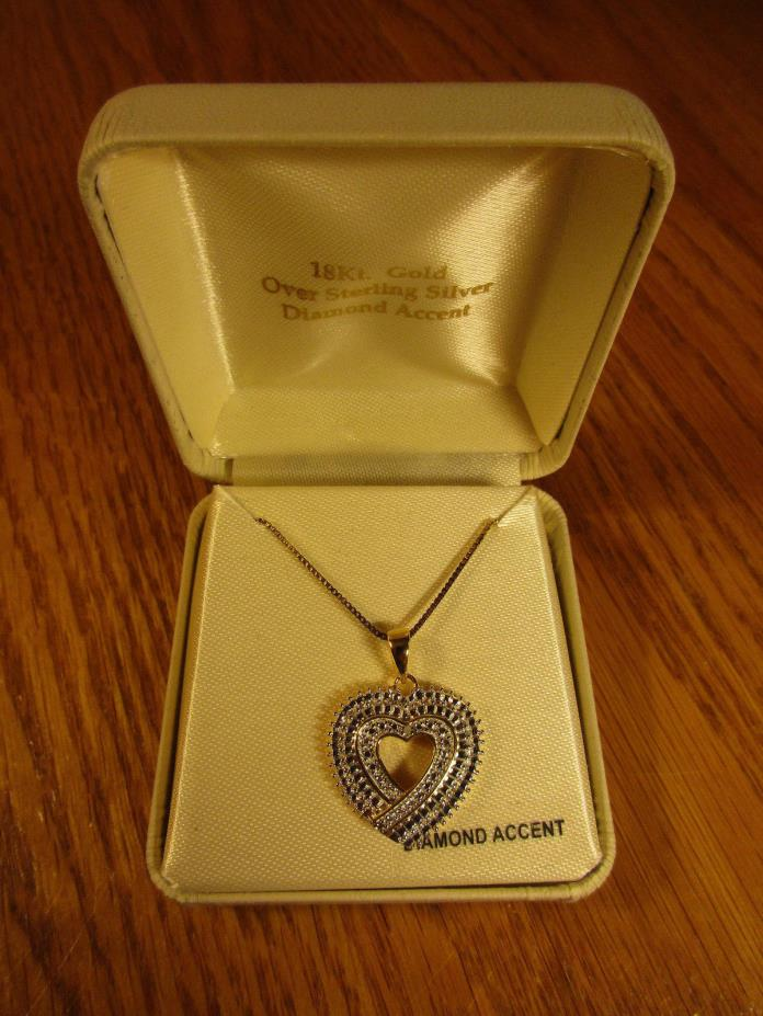 HEART  PENDANT 18K GOLD OVER STERLING SILVER  & 18 INCH CHAIN
