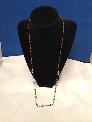 Turquoise and multi-colored necklace with copper metal chain