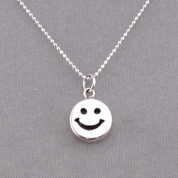 925 Sterling Silver Smiley Face Pendant Necklace Jewelry NEW
