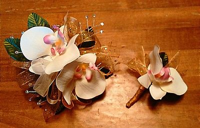 White Orchid Gold Sparkle Ribbon Wrist Corsage and Boutonniere Set