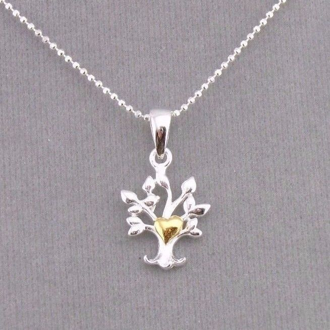 925 Sterling Silver Tree With Gold Heart Pendant Necklace Dainty Jewelry NEW