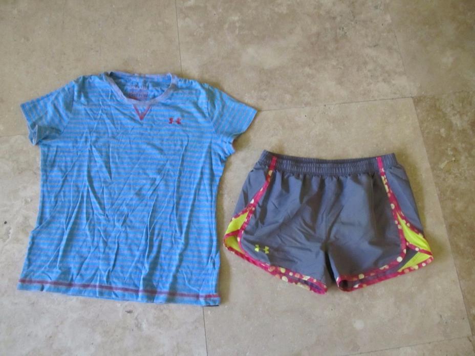 Lot, 2 girls Under Armour YXL shorts, t-shirt
