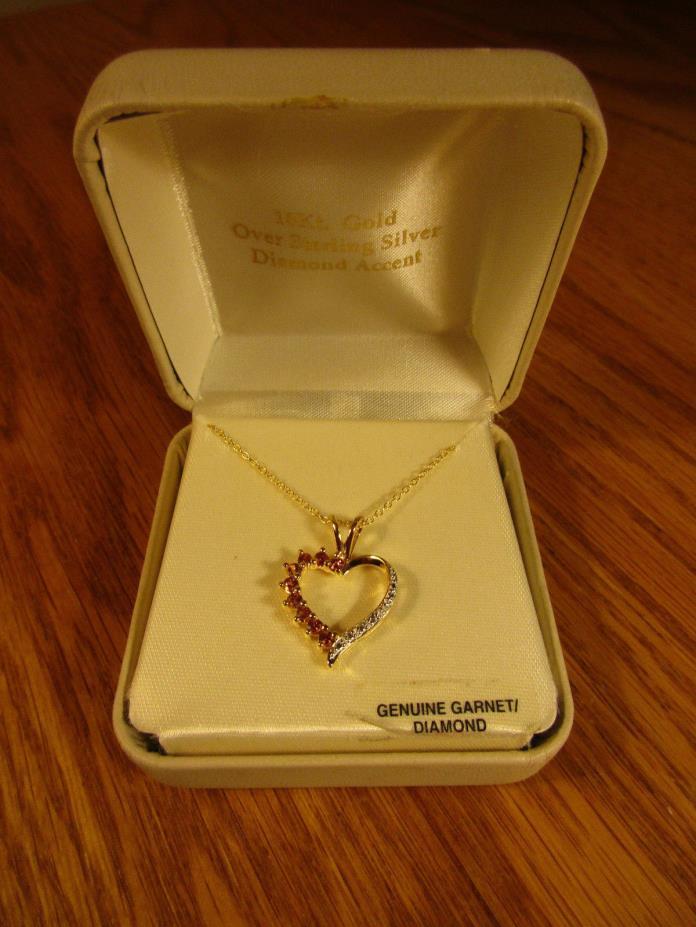 9 GARNET HEART PENDANT 18K GOLD OVER STERLING SILVER  & 18 INCH CHAIN