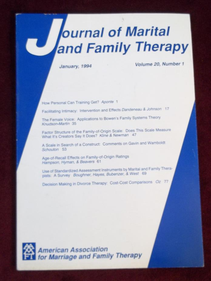 Journal Of Marital & Family Therapy Magazine January 1994  Psychology Counseling
