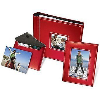 Kodak Photo Sharing Set Album Frame & Photo Pouch Red Holds 200 Pictures