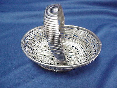 ART DECO Silver Easter Basket Woven Dish no hallmarks 5