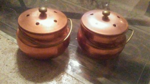 Two Vintage Copper Potpourri Holders with lids