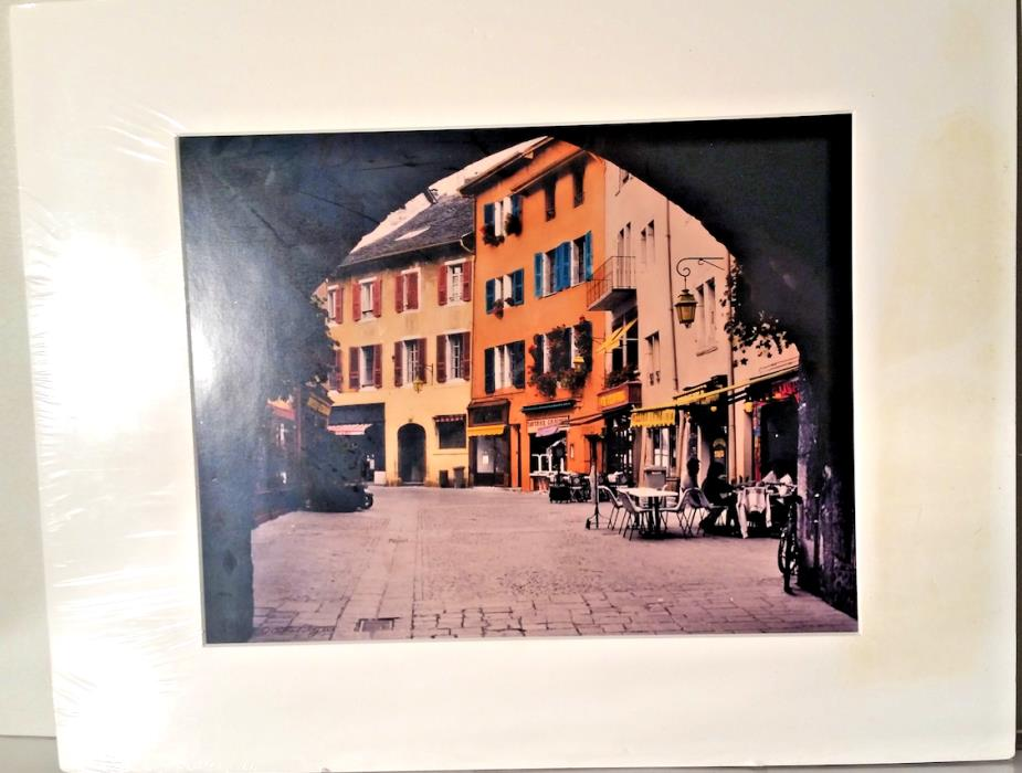 rare  Photo street scene by   Photo ALLAN I. TEGER   canvassed
