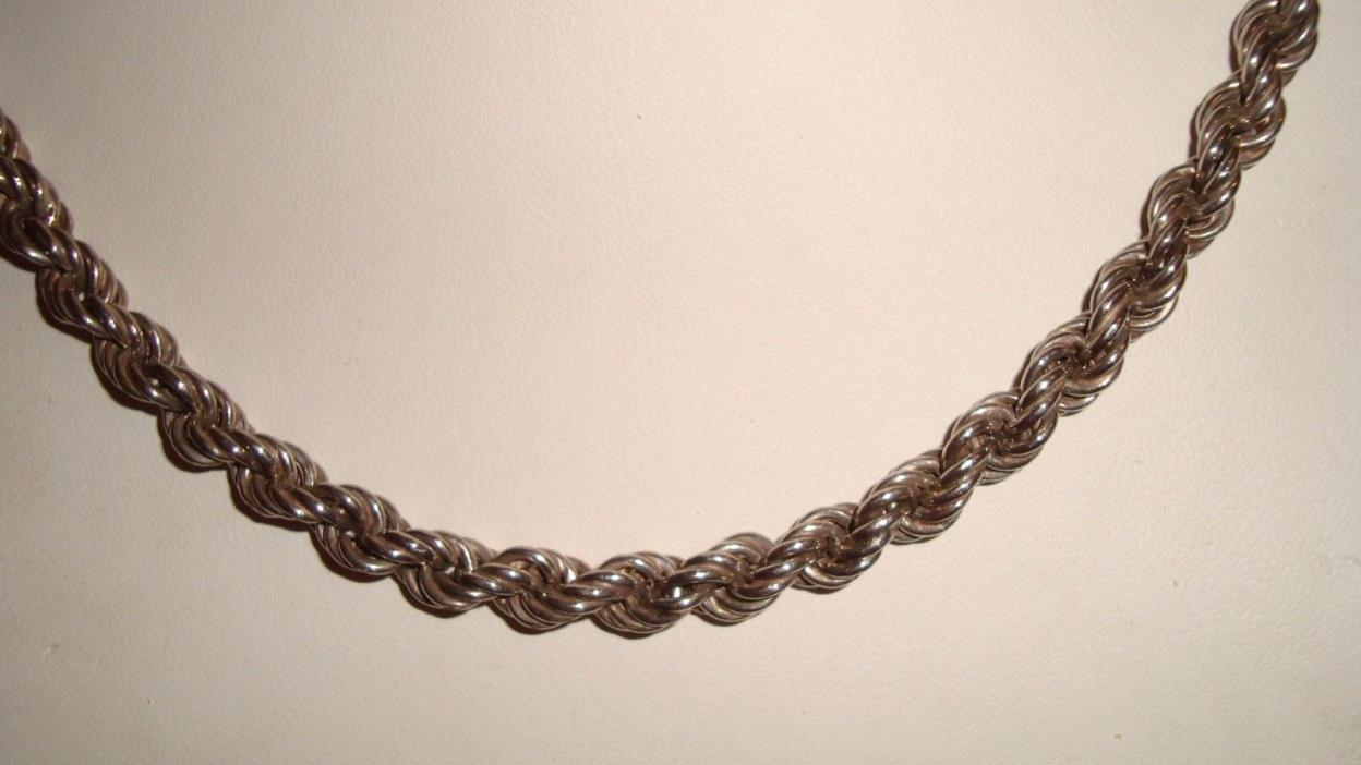 STERLING SILVER 18 INCH ROPE CHAIN 3 MM  LOBSTER CLASP WEIGHS 24.38 GRAMS