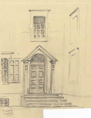 G H Holloway - Mid 20th Century Graphite Drawing, Georgian Townhouse, Bath