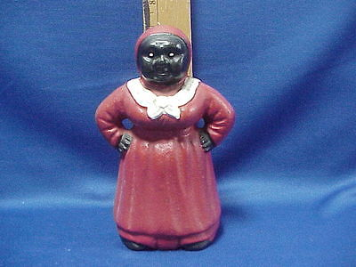 Vintage CAST IRON Black Americana Aunt Jemima Bank Doorstop 7