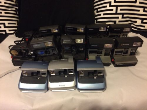 Lot Of 13 Instant Film Polaroid Cameras One Step Talking Sun 600 One Others