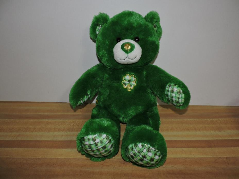Build-A-Bear Green w/ Plaid Shamrock Bear Plush