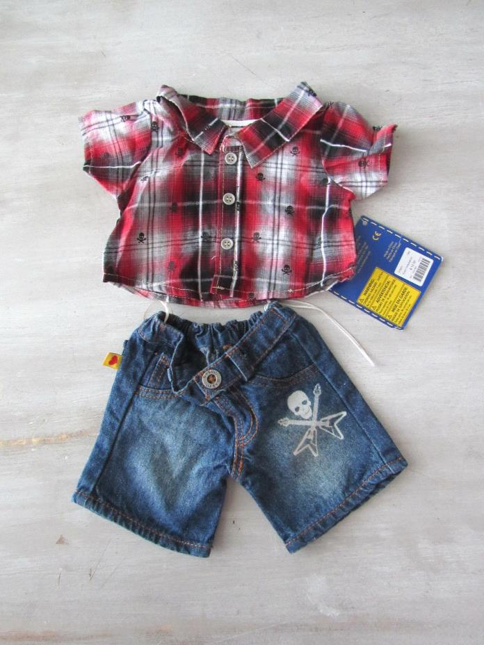 Build A Bear Clothes Boy Plaid Shirt and Jean Shorts Free Shipping NWT Rocker