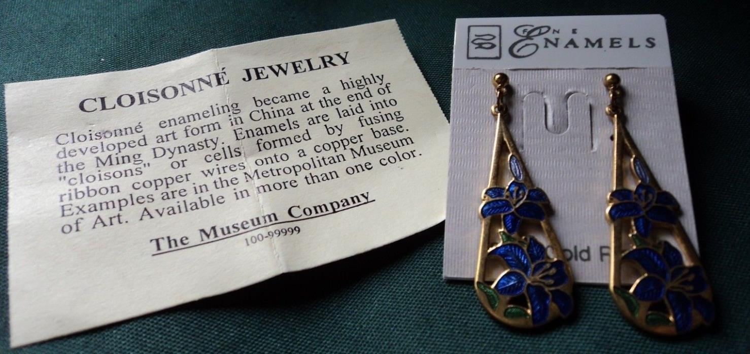 earrings - Cloisonne blue dangles pierced - ! gold tone 22ct gold plated flowers