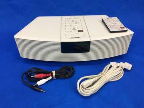 Bose Wave Compact AM/FM Radio Player Alarm Clock White w/Remote & iPod Cord