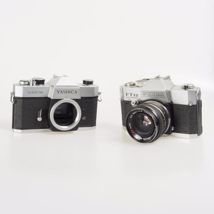 # Lot of Two (2) Yashica TL-Electro & Petri FTEE 35mm Film Camera Bodies 826