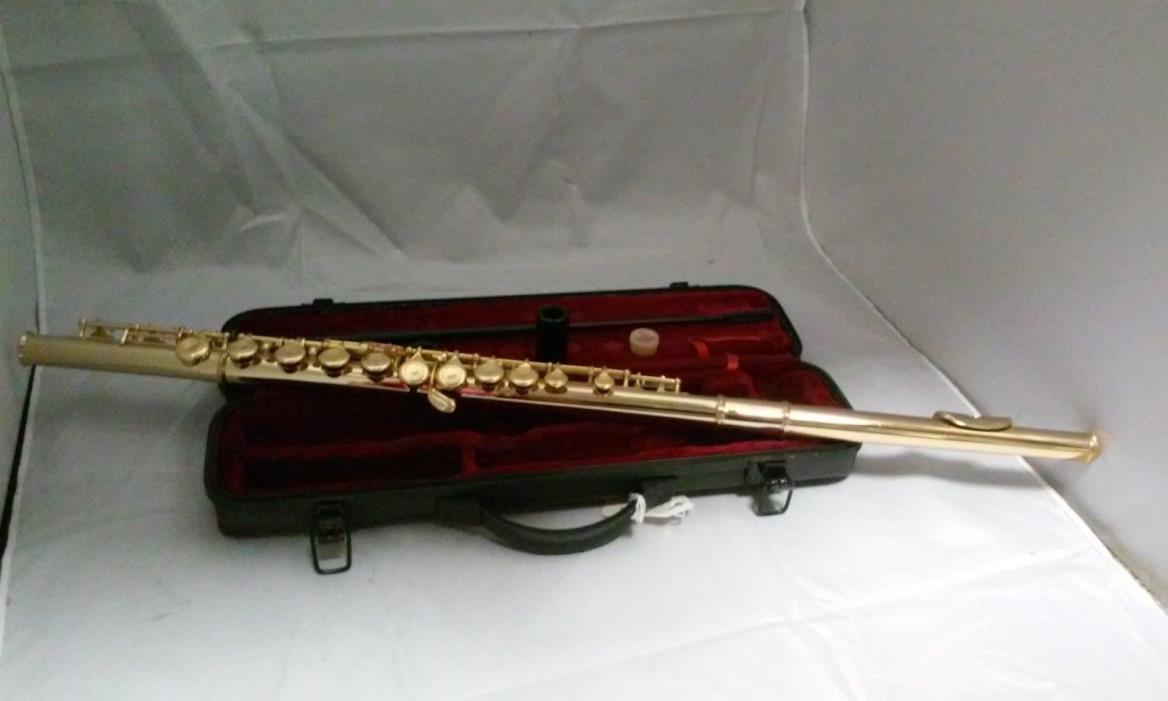 GOLD FLUTE WITH GOLD-PLATED KEYS KEY OF C PLUSH-LINED HARD CASE, NEW!