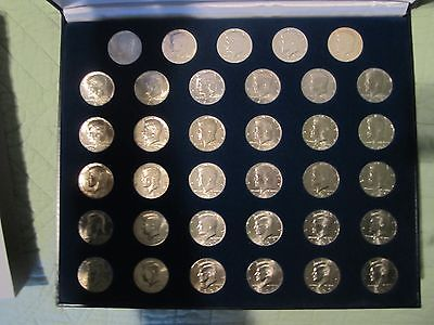 John F.Kennedy half dollar set 1964-1999 mounted in Padded Case with Slip Cover
