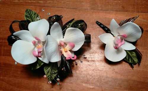 White Orchid Black Ribbon Wrist Corsage and Boutonniere Set