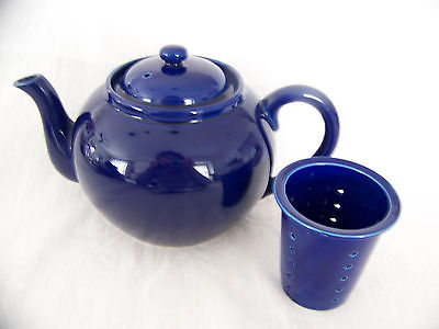 SIGNED WILLIAMS -SONOMA COBALT BLUE  TEAPOT WITH INSERT