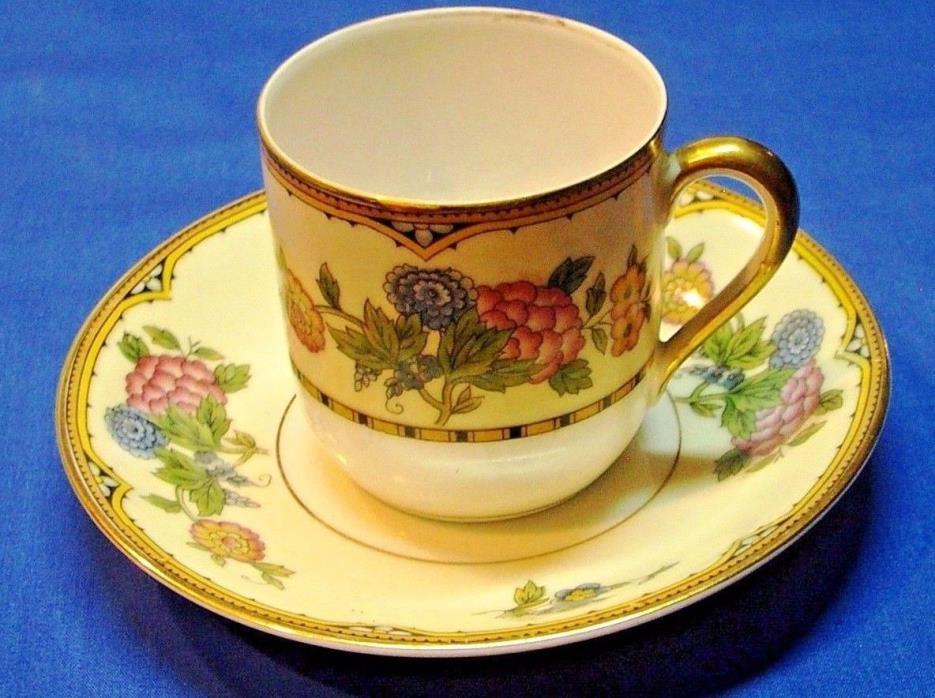 Noritake Flat Demitasse Cup and Saucer Set Elysian c.1921
