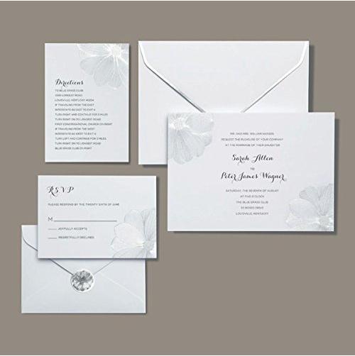 BRIDES Metallic Silver Flower Invitation Kit : 30 Count