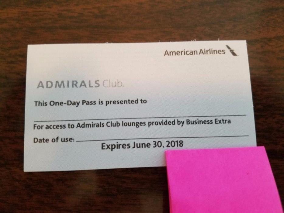 One (1) American Airlines Admirals Club Lounge One Day Pass Expires 6/30/2018