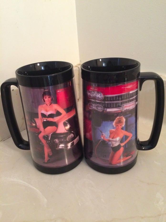 2 VTG. SNAP-ON TOOLS COFFEE MUG/GLASS Dora Nov/Dec '87 & Barb Jan/Feb '87