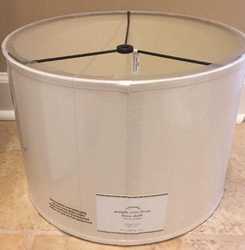 NEW Pottery Barn MEDIUM Straight Sided Linen Drum Lamp Shade IVORY