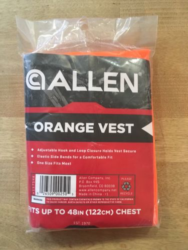 Allen Orange Safety Vest Hunting Construction One Size Fits Up To 48