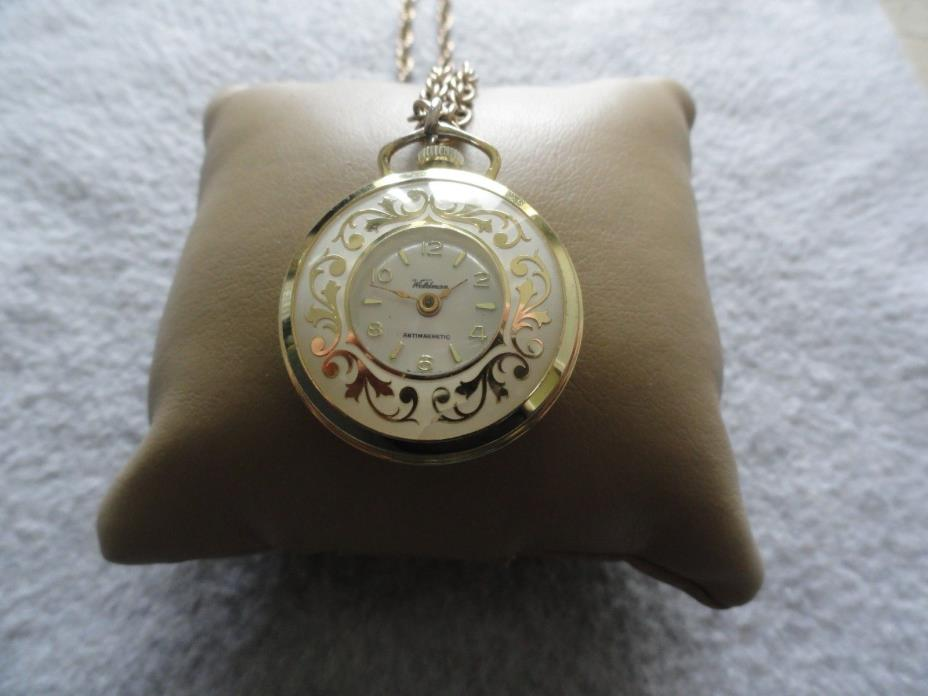Vintage Swiss Made Waldman Wind Up Necklace Pendant Watch - Not Working