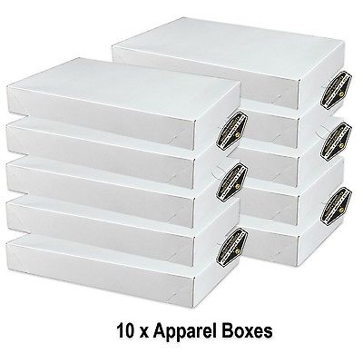 Mighty Gadget (R) 10 x White Gloss Apparel Boxes for clothing gift boxes or s...