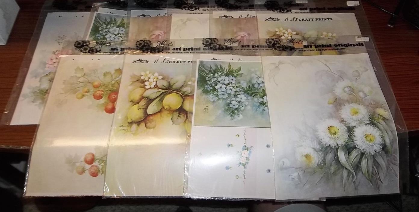 Lot of 10 Hazels Art Print Originals (NEW) Decoupage, Flowers & Fruit        1B