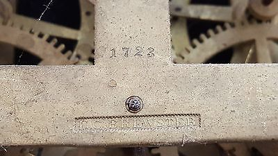 E C Brewster , Bristol, Conn., Rack and Snail 8 day, time and strike spring 1723