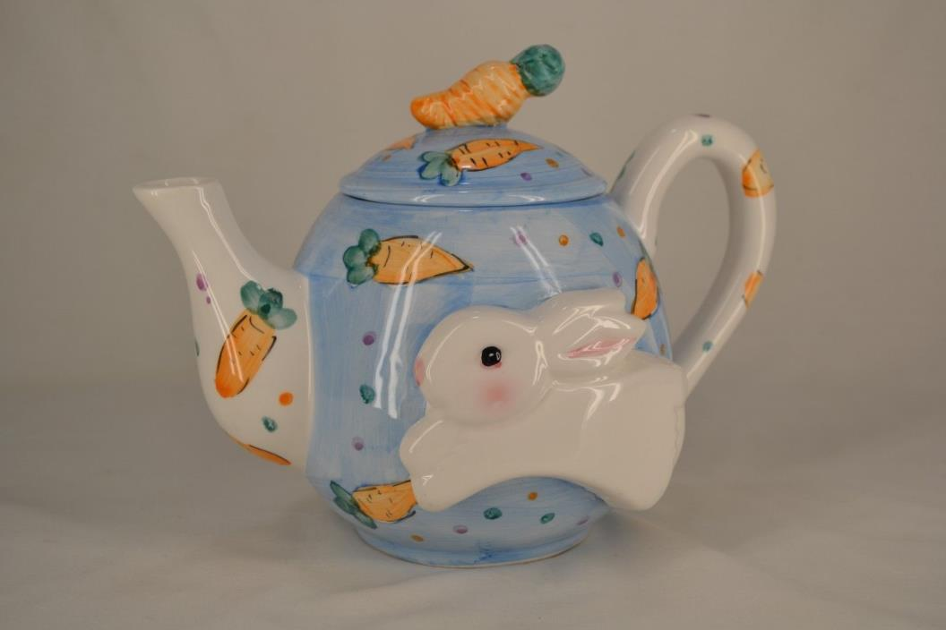 Decorative WCL Porcelin Teapot Easter Bunny Rabbit Carrots Collectible Nice