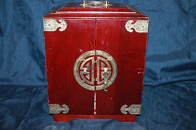 Antique Chinese Rosewood and Brass Jewelry Box 1910-1920's
