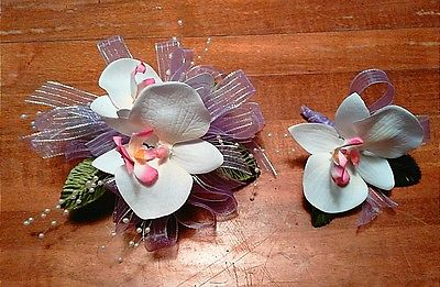 White Orchid Lavender Ribbon Wrist Corsage with Boutoniere Set
