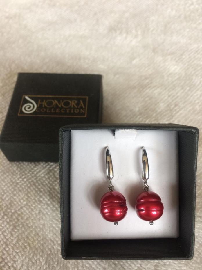 Honora Red Cultured fresh water pearl earrings new with box
