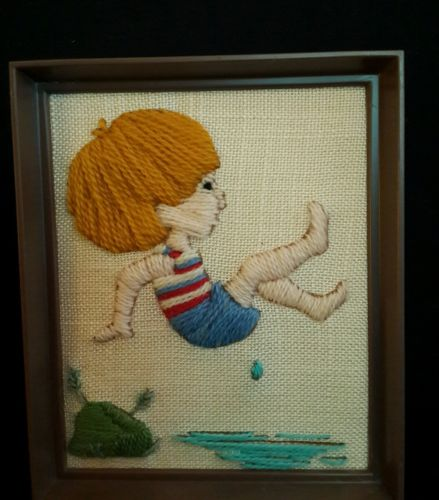 Vtg Swimming Crewel Embroidery Finished Summer Fun Boy Diving Water Framed ~ EUC