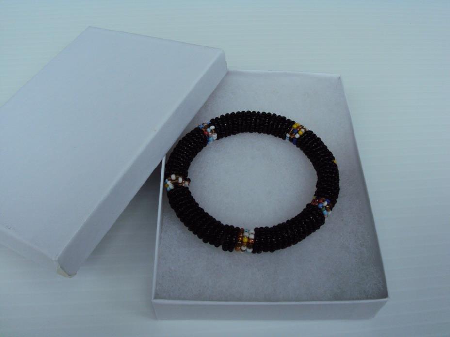 Black MulMaasai bead Bangle Bracelet Kenya African Jewelry africa seed masi art